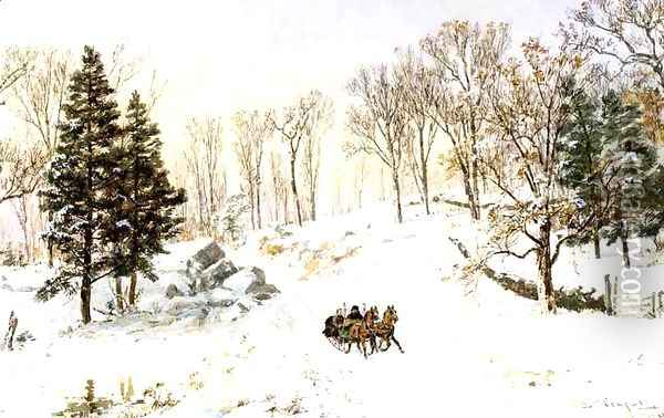Winter on Rivensdale Road, Hastings-on-Hudson, New York Oil Painting - Jasper Francis Cropsey