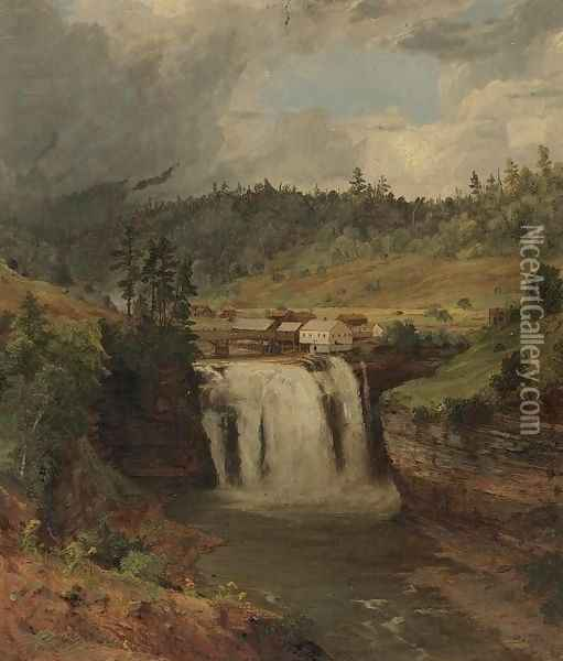 Portage Falls on the Genesse Oil Painting - Jasper Francis Cropsey