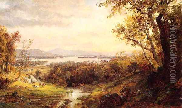 View of the Hudson I Oil Painting - Jasper Francis Cropsey
