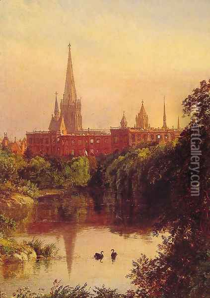 A View in Central Park - The Spire of Dr. Hall's Church in the Distance Oil Painting - Jasper Francis Cropsey