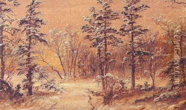 Winter Woodland Oil Painting - Jasper Francis Cropsey