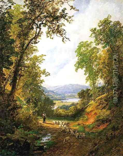 Shepherd and Flock Oil Painting - Jasper Francis Cropsey