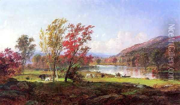 On the Saw Mill River Oil Painting - Jasper Francis Cropsey