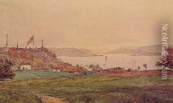 Looking North on the Hudson Oil Painting - Jasper Francis Cropsey