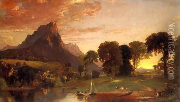 View near Sherburne, Chenango County, New York 2 Oil Painting - Jasper Francis Cropsey