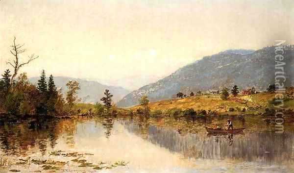 Fishing on a Lake Oil Painting - Jasper Francis Cropsey