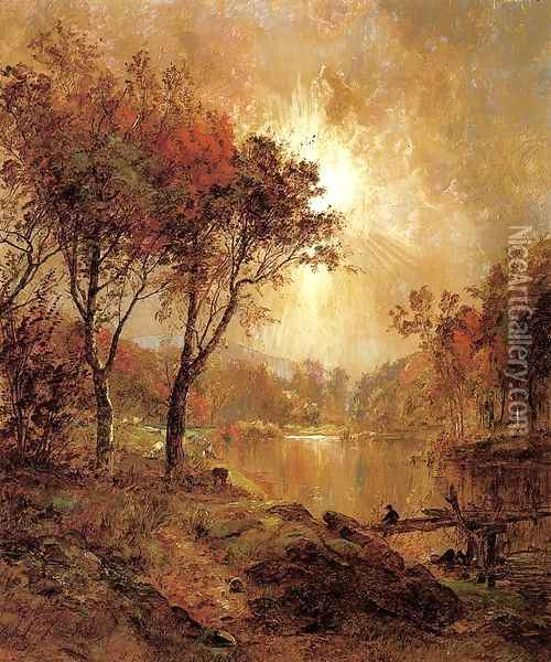 On the Ramapo River Oil Painting - Jasper Francis Cropsey
