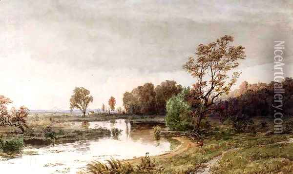 Hackensack Meadows in the Autumn Oil Painting - Jasper Francis Cropsey