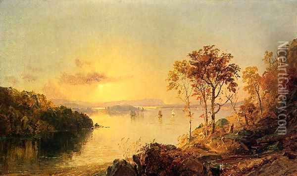 Figures on the Hudson River Oil Painting - Jasper Francis Cropsey