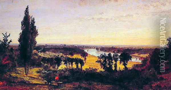 Richmond Hill and the Thames, London Oil Painting - Jasper Francis Cropsey