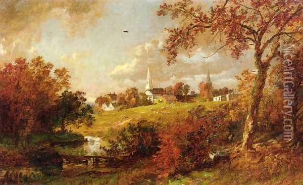 Back of the Village, Hastings-on-Hudson, New York Oil Painting - Jasper Francis Cropsey