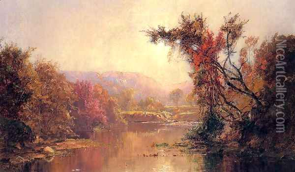 By the River Oil Painting - Jasper Francis Cropsey