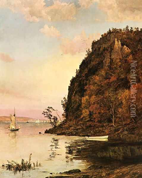 Under the Palisades, in October Oil Painting - Jasper Francis Cropsey