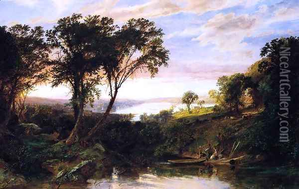 Hudson River View, Summer Oil Painting - Jasper Francis Cropsey