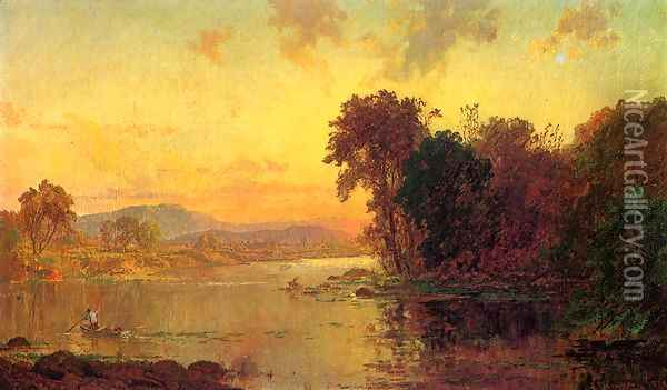 Fisherman in Autumn Landscape Oil Painting - Jasper Francis Cropsey