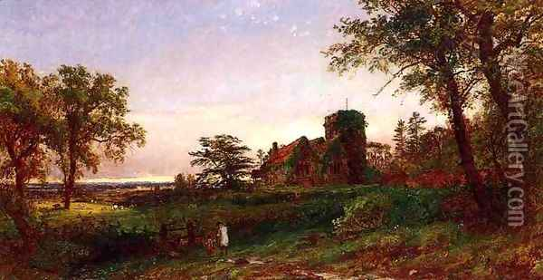 View of Stoke Poges Oil Painting - Jasper Francis Cropsey