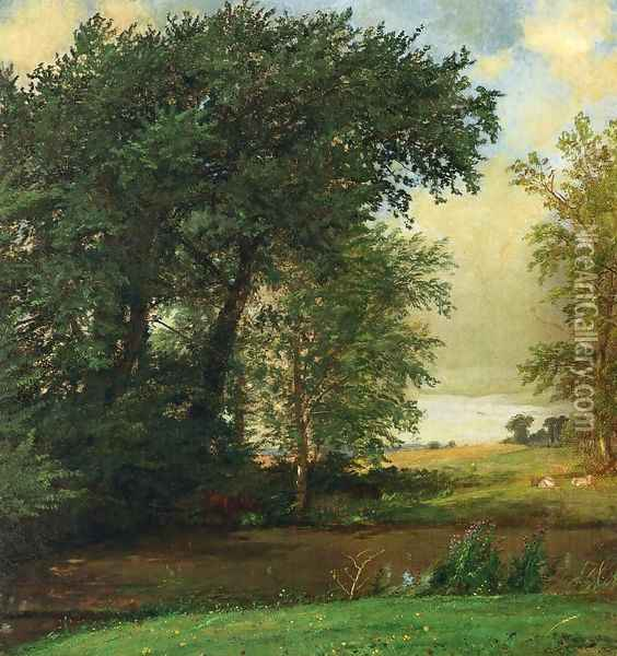 Banks of the River Oil Painting - Jasper Francis Cropsey