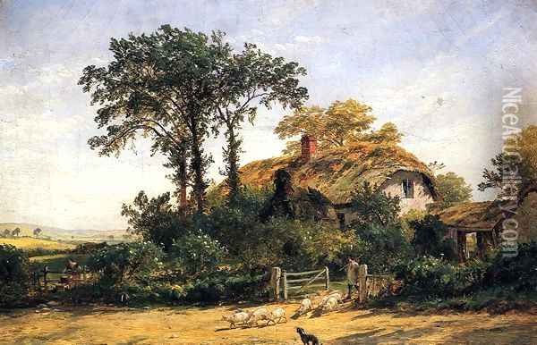 The Cottage of the Dairyman's Daughter Oil Painting - Jasper Francis Cropsey