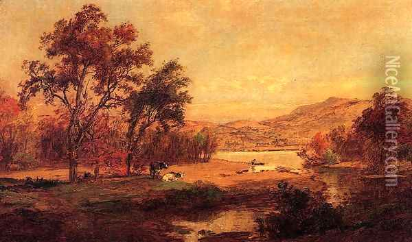 By the Lake Oil Painting - Jasper Francis Cropsey