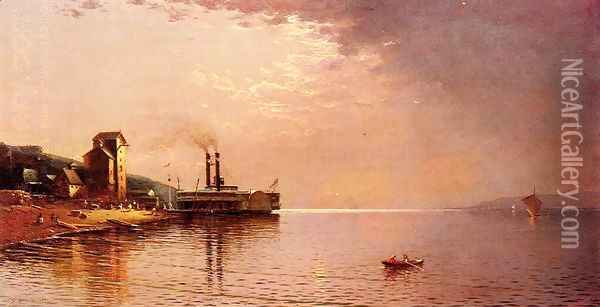 The Side-Wheeler 'The City of St. Paul' on The Missippippi River, Dubuque, Iowa Oil Painting - Jasper Francis Cropsey