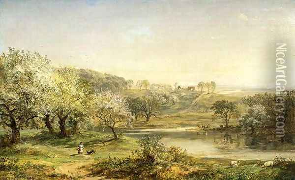 Spring, Chenango Valley Oil Painting - Jasper Francis Cropsey