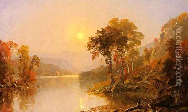 Winding River Oil Painting - Jasper Francis Cropsey