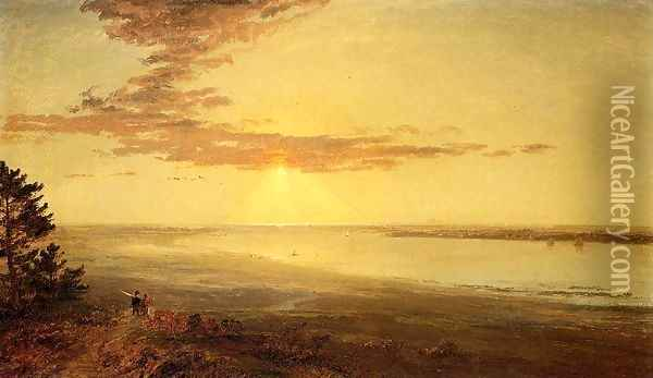 View of the Hudson Oil Painting - Jasper Francis Cropsey