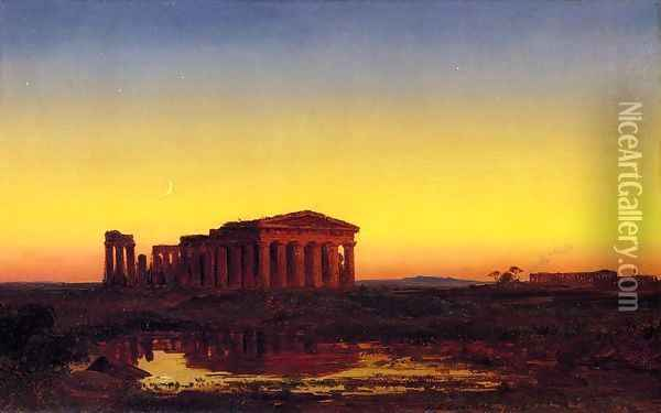 Evening at Paestum Oil Painting - Jasper Francis Cropsey