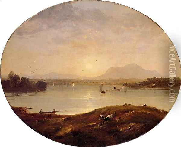 View on the Hudson River Oil Painting - Jasper Francis Cropsey