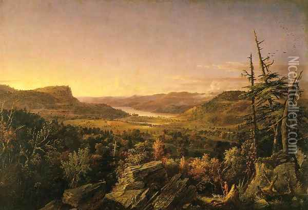 View of Greenwood Lake, New Jersey Oil Painting - Jasper Francis Cropsey