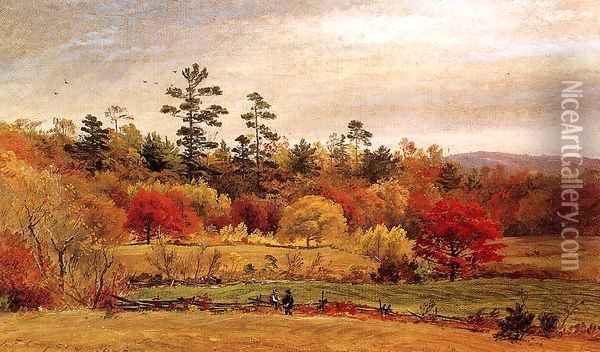 Conversation at the Fence Oil Painting - Jasper Francis Cropsey