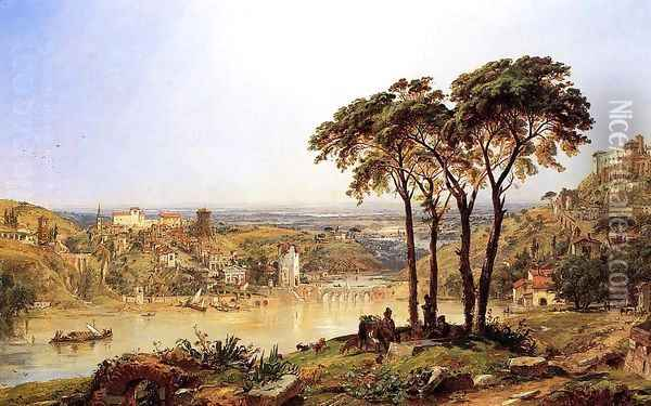 Summer, Noonday on the Arno Oil Painting - Jasper Francis Cropsey