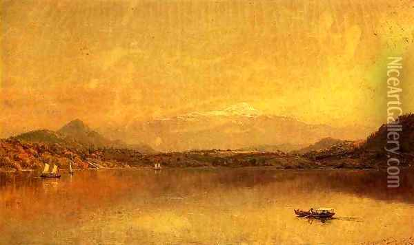 Autumn Landscape with Boaters on a Lake Oil Painting - Jasper Francis Cropsey