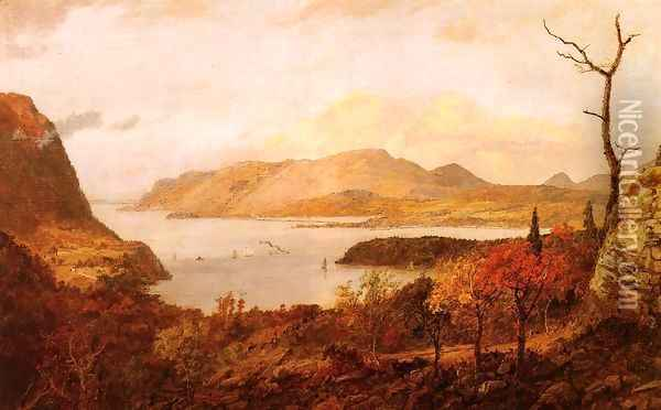 The Hudson River from Fort Putnam, near West Point Oil Painting - Jasper Francis Cropsey