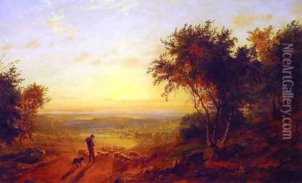The Return Home: Landscape with Shepherd and Sheep Oil Painting - Jasper Francis Cropsey