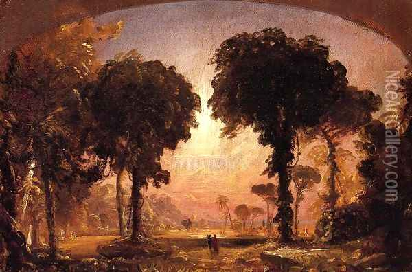 Ideal Landscape: Homage to Thomas Cole Oil Painting - Jasper Francis Cropsey