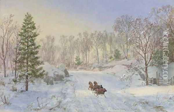 Evening Sleigh Ride, Ravensdale Road, Hastings-on-Hudson, New York Oil Painting - Jasper Francis Cropsey