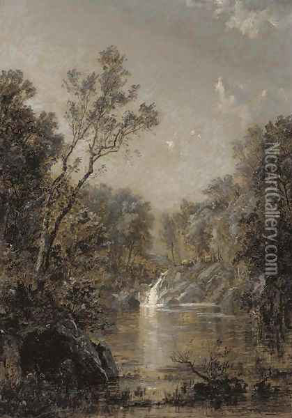 The Waterfall Oil Painting - Jasper Francis Cropsey