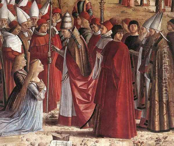 The Pilgrims Meet the Pope (detail) c. 1492 Oil Painting - Vittore Carpaccio