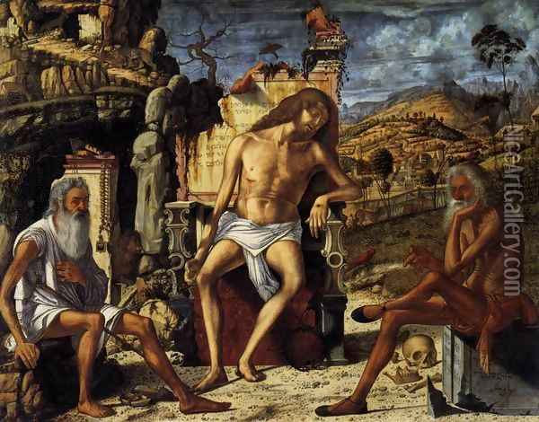 The Meditation on the Passion c. 1510 Oil Painting - Vittore Carpaccio