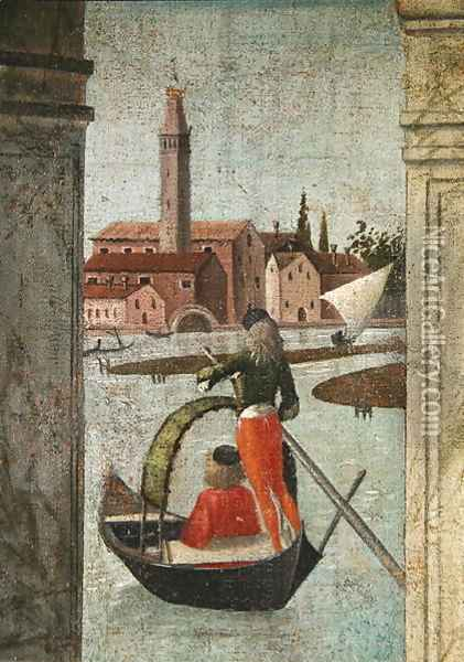 The Arrival of the English Ambassadors, from the St. Ursula Cycle, detail of a gondola, 1490-96 Oil Painting - Vittore Carpaccio