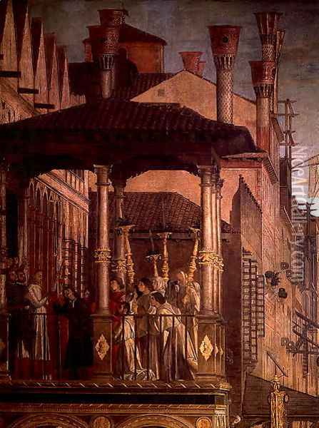 The Miracle of the Relic of the True Cross on the Rialto Bridge (detail) Oil Painting - Vittore Carpaccio