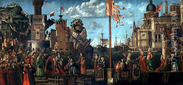 The Meeting of Etherius and Ursula and the Departure of the Pilgrims, from the St. Ursula Cycle, originally in the Scuola di Sant'Orsola, Venice, 1498 Oil Painting - Vittore Carpaccio