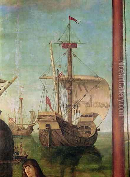The Meeting and Departure of the Betrothed, from the St. Ursula Cycle, detail of a ship, 1490-96 Oil Painting - Vittore Carpaccio