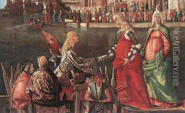 Meeting of the Betrothed Couple and the Departure of the Pilgrims [detail: 1] Oil Painting - Vittore Carpaccio
