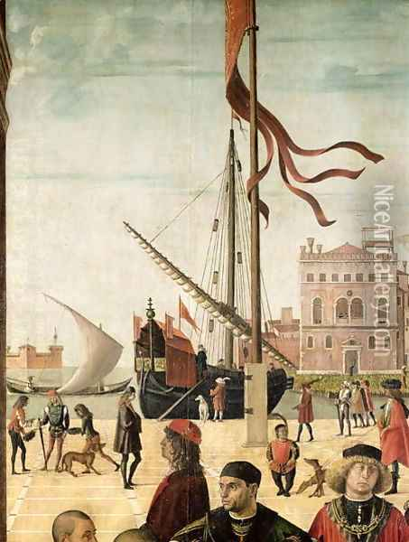 The Arrival of the English Ambassadors at the Court of Brittany, from the Legend of Saint Ursula (detail Oil Painting - Vittore Carpaccio