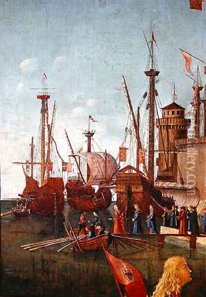 The Departure of the Pilgrims, detail from The Meeting of Etherius and Ursula and the Departure of the Pilgrims, St. Ursula Cycle, 1498 Oil Painting - Vittore Carpaccio