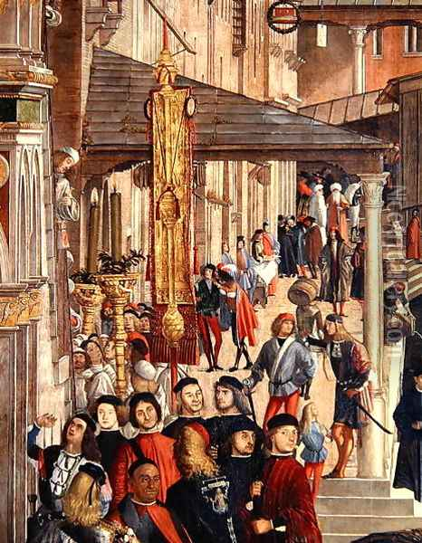 Street Scene, detail from The Miracle of the Relic of the True Cross on the Rialto Bridge, 1494 Oil Painting - Vittore Carpaccio