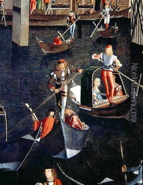 Gondoliers on the Grand Canal, detail from The Miracle of the Relic of the True Cross on the Rialto Bridge, 1494 Oil Painting - Vittore Carpaccio