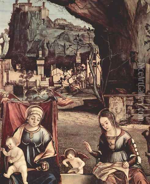Throne end of Madonna and Johannes of the Taeufer, Hl. Josef and Hl. Anna, Hl. Elizabeth and Hl. Zacharias, Oil Painting - Vittore Carpaccio
